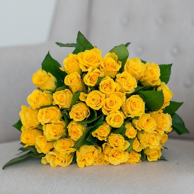 Букет из: роза (желтый, 40 см) — 39 шт., желтая лента — 1 шт. - Солнышко