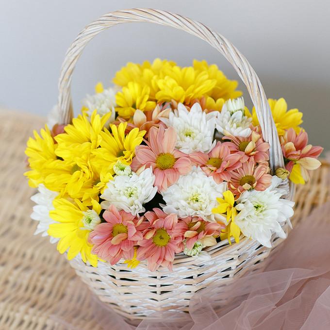 Хризантема кустовая (желтый) — 3 шт., Хризантема кустовая (белый) — 1 шт., Хризантема кустовая (коралловый) — 1 шт., Пиафлор — 1 шт., Корзина (круг, средний) —…