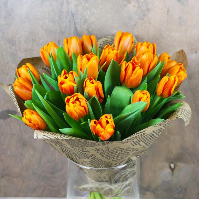 Упаковка Крафт-бумага — 1 шт., Тюльпан пионовидный (оранжевый) — 21 шт.