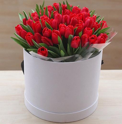 Пиафлор — 2 шт., Шляпная коробка (средний) — 1 шт., Тюльпан (красный) — 35 шт.