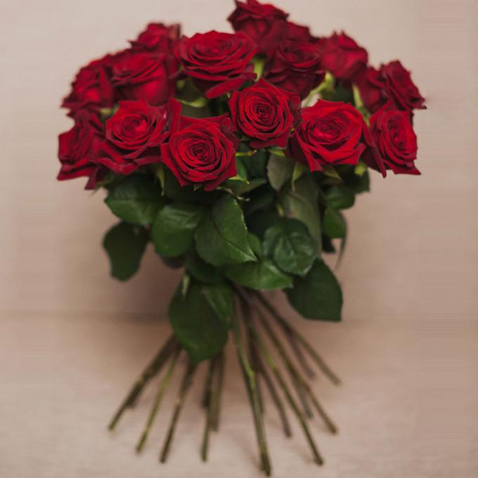 Лента атласная — 1 шт., Роза Кения (красный, 50 см) — 19 шт.