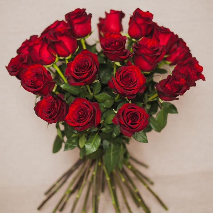 Лента атласная — 1 шт., Роза (красный, 70 см) — 25 шт.