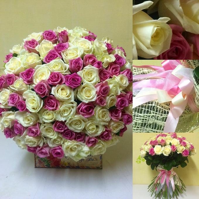 Пышный букет белых и розовых роз
