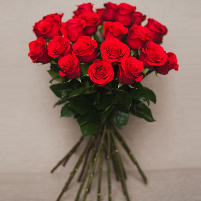 Роза Эквадор (красный, 70 см) — 25 шт., Лента атласная — 1 шт.