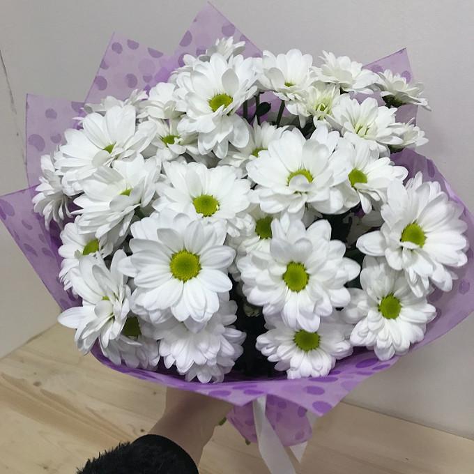 Хризантема кустовая (белый) — 5 шт., Лента атласная — 2 шт., Упаковка Фетр — 2 шт.