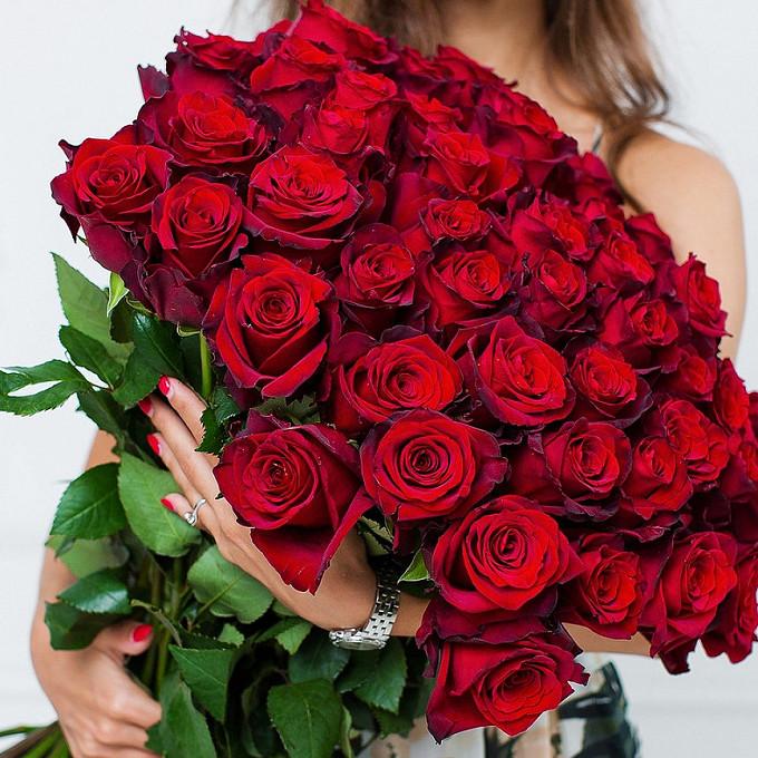 Роза (красный, 40 см) — 51 шт., Красная лента — 1 шт.