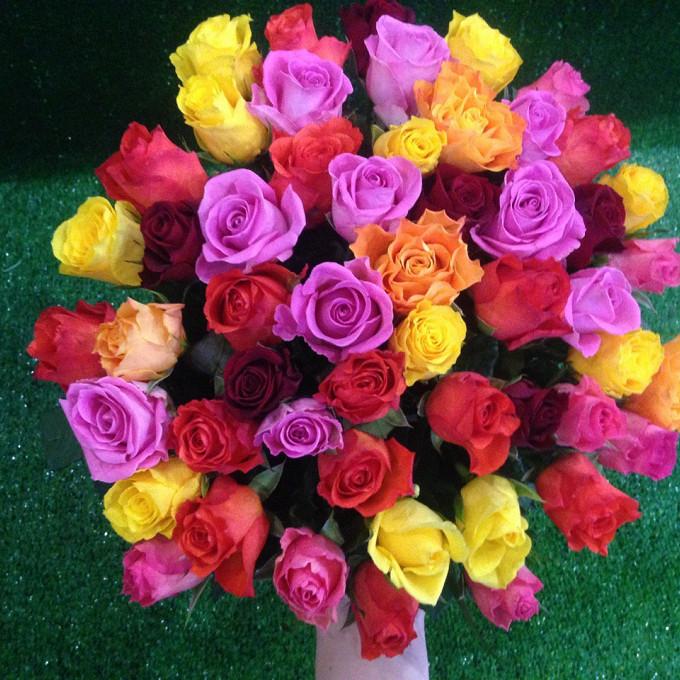 Лента атласная — 1 шт., Роза (микс (разных цветов), 40 см) — 51 шт.