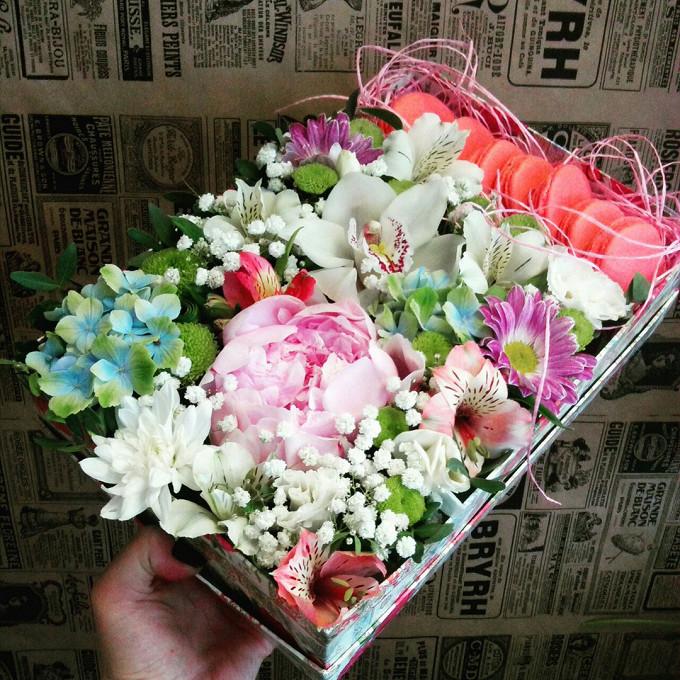 Хризантема кустовая Филин Грин (зеленый) — 1 шт., Гипсофила (белый) — 1 шт., Гортензия (голубой) — 1 шт., Альстромерия (красный) — 1 шт., Орхидея Цимбидиум 1 б…