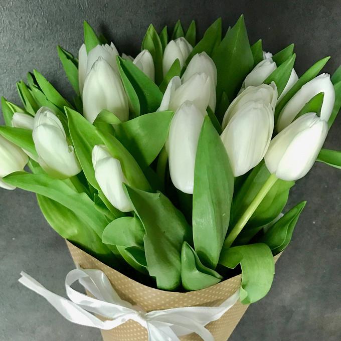 Тюльпан (белый) — 25 шт., Упаковка Крафт-бумага — 1 шт., Лента атласная — 2 шт.