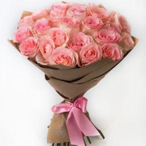 Роза Эсперанс Эквадор (розовый) — 25 шт., Упаковка Крафт-бумага — 1 шт., Лента атласная — 1 шт.