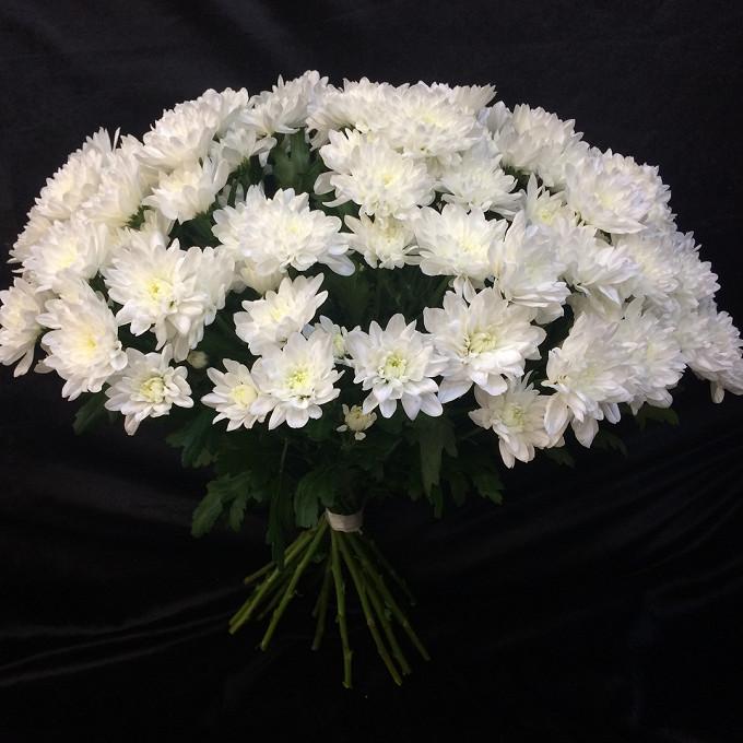 Хризантема (белый) — 19 шт., Белая лента — 2 шт.