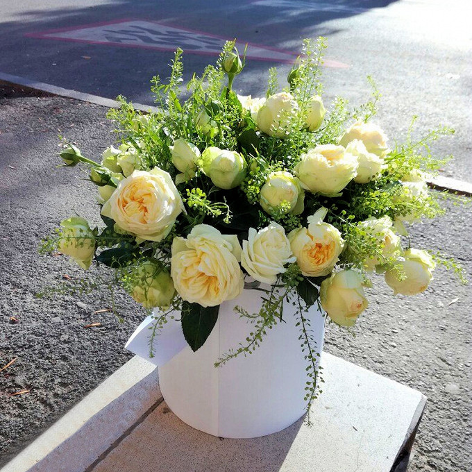 """Роза кустовая пионовидная (кремовый) — 25 шт., Тласпи """"Грин Белл"""" — 3 шт., Оазис — 1 шт., Шляпная коробка (средний) — 1 шт."""
