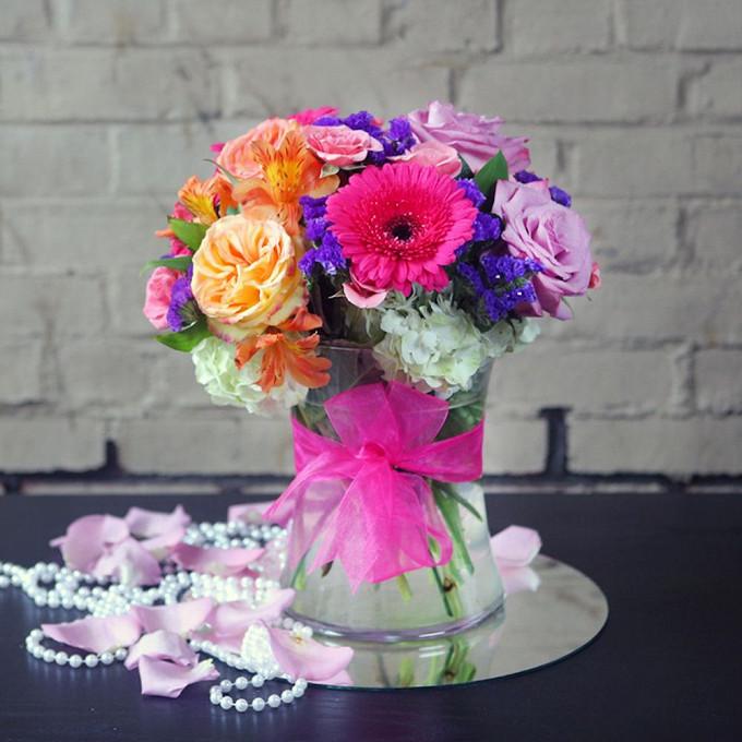 Роза Кения (нежно-сиреневый, 60 см) — 3 шт., Гербера (нежно-розовый) — 3 шт., Статица (фиолетовый) — 3 шт., Роза пионовидная (персиковый) — 3 шт., Альстромерия…