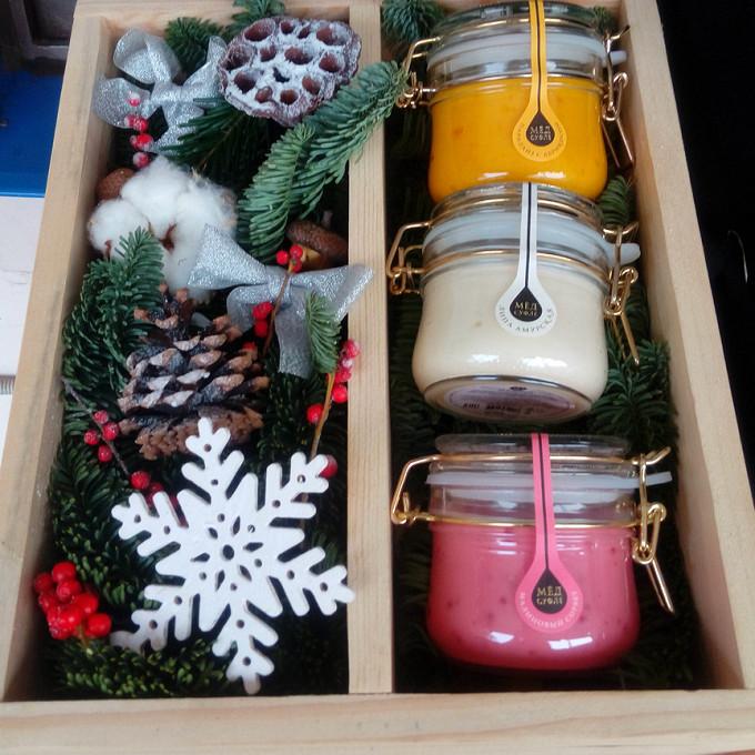 Ящик с медом новогодний