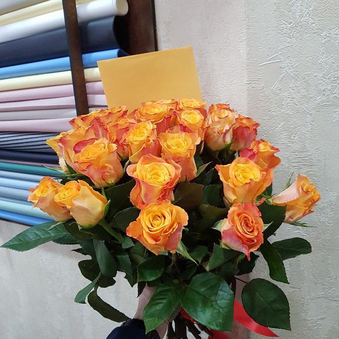 Роза (оранжевый, 40 см) — 25 шт., Лента — 1 шт.
