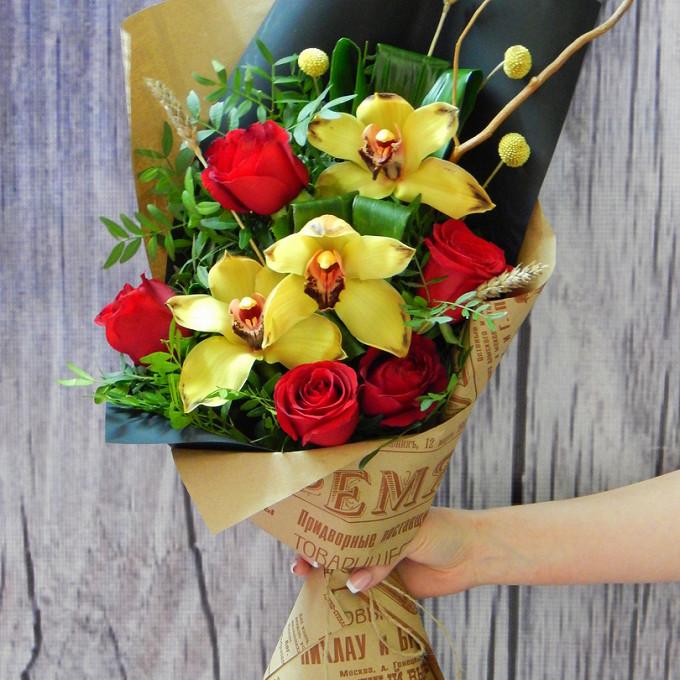 Роза Кения (бордовый, 60 см) — 5 шт., Желтая лента — 1 шт., Упаковка Крафт-бумага — 1 шт., Упаковка Пленка матовая (Корея) — 1 шт., Пшеница (колосок) — 3 шт., …