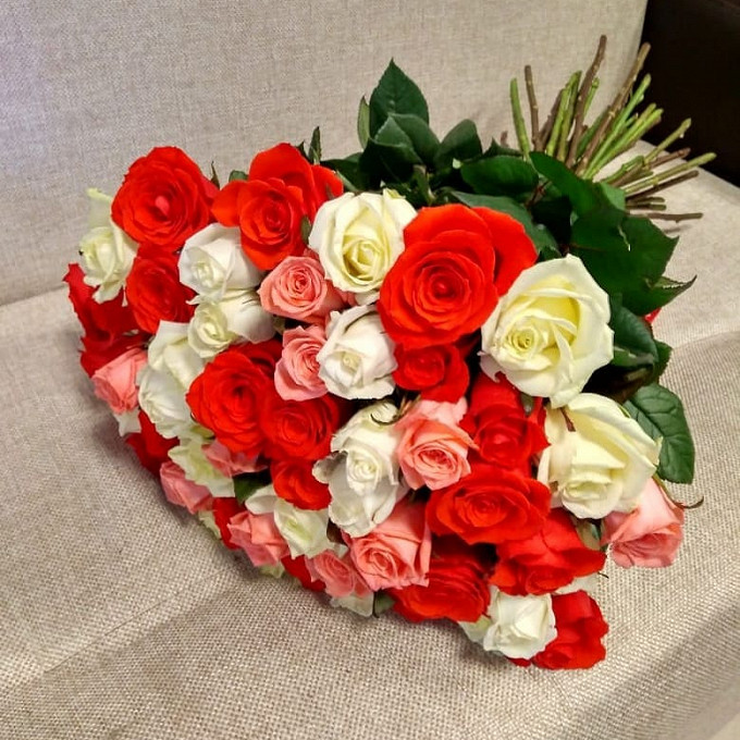 Лента атласная — 1 шт., Роза (микс (разных цветов), 70 см) — 45 шт.