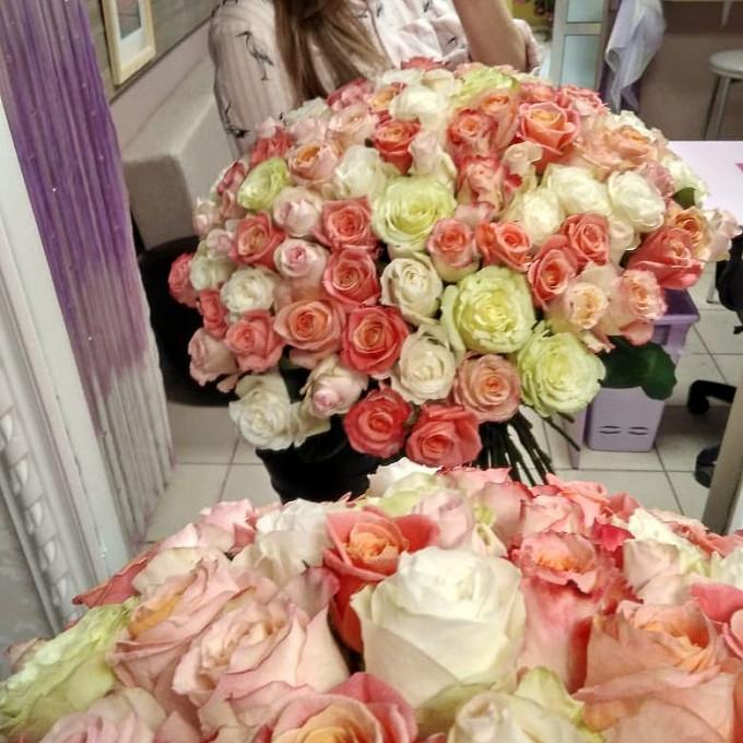 Лента атласная — 1 шт., Роза (микс (разных цветов), 60 см) — 101 шт.