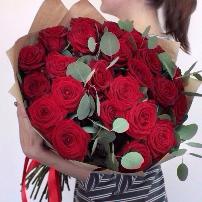 Розы с эвкалиптом 2
