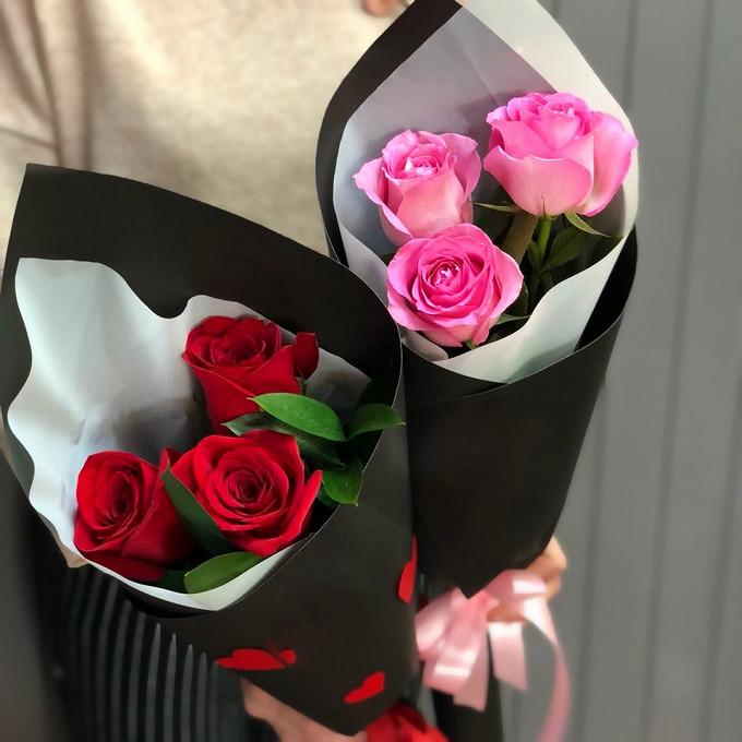 """Букет из: роза (красный, 60 см) — 3 шт., роза (розовый, 60 см) — 3 шт., упаковка крафт-бумага — 1 шт., лента — 2 шт., рускус — 6 шт., упаковка фетр — 1 шт. - Дуэт """"Дочки-Матери"""""""