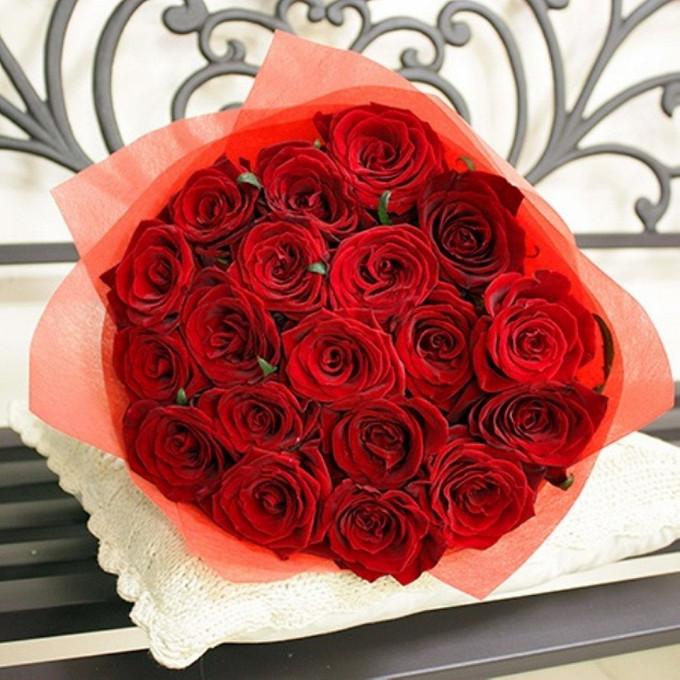 Роза (красный, 60 см) — 19 шт., Упаковка Фетр — 1 шт., Лента — 1 шт.
