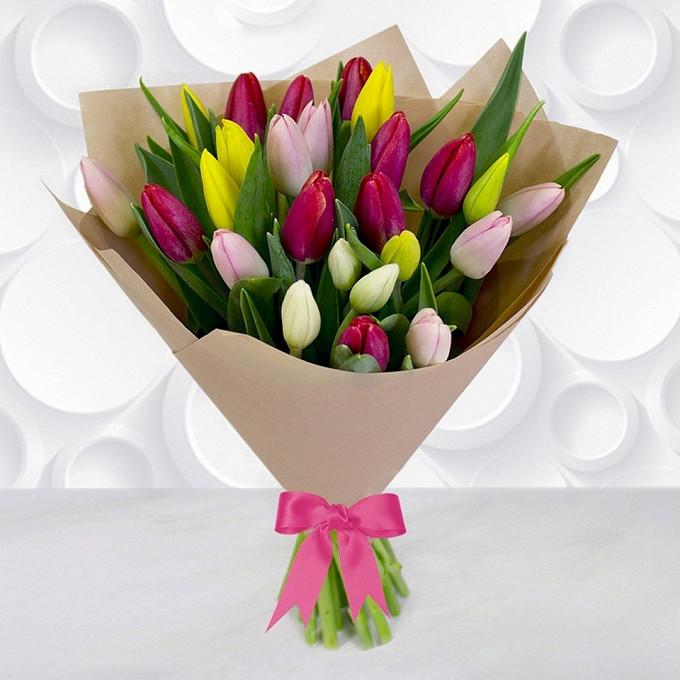 Лента атласная — 1 шт., Упаковка Крафт-бумага — 1 шт., Тюльпан (микс (разных цветов)) — 25 шт.