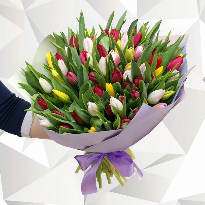 Лента атласная — 1 шт., Упаковка Пленка матовая (Корея) — 2 шт., Тюльпан (микс (разных цветов)) — 95 шт.