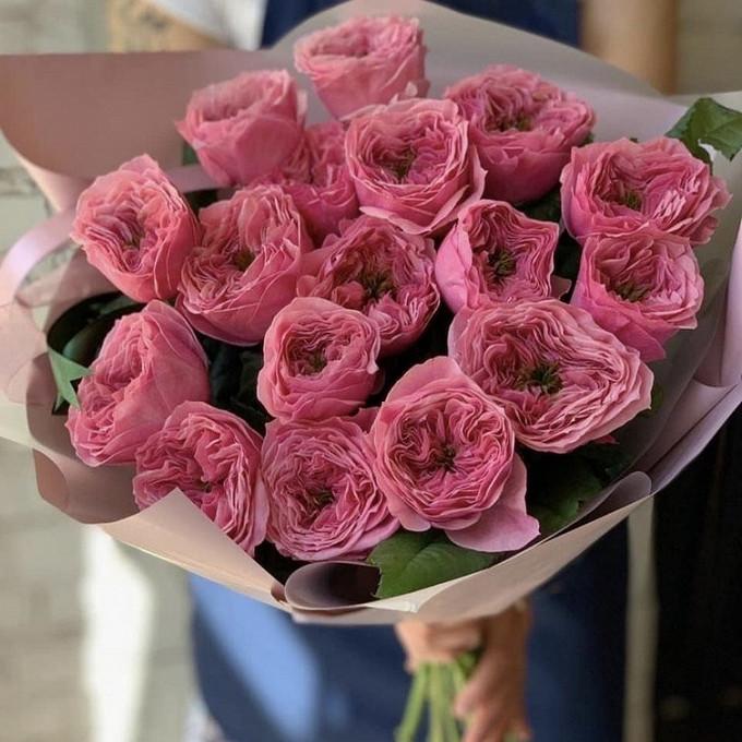 Упаковка Пленка матовая (Корея) — 1 шт., Роза пионовидная (розовый) — 15 шт., Лента — 1 шт.