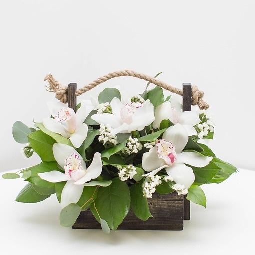 Эвкалипт — 2 шт., Писташ — 2 шт., Статица (микс (разных цветов)) — 5 шт., Пиафлор — 1 шт., Деревянный ящик (прочее, средний) — 1 шт., Орхидея Цимбидиум 1 бутон…