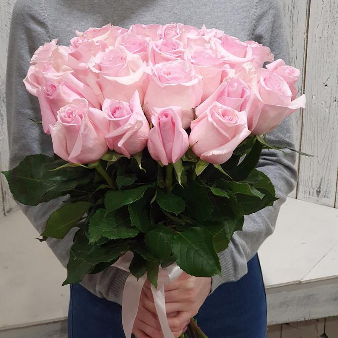 Белая лента — 1 шт., Роза Эквадор (розовый, 40 см) — 23 шт.