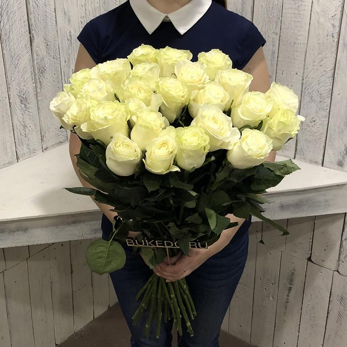 25 элитных белых роз 70см Эквадор