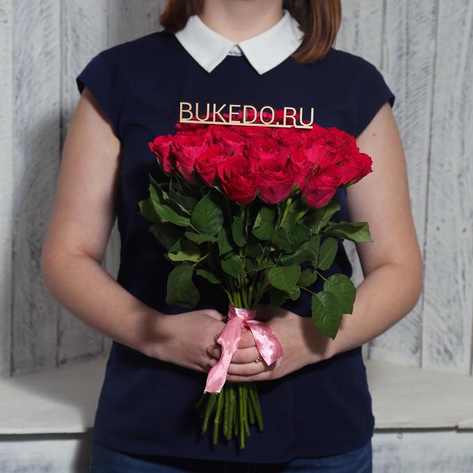 Розовая лента — 1 шт., Роза (ярко-розовый, 40 см) — 25 шт.