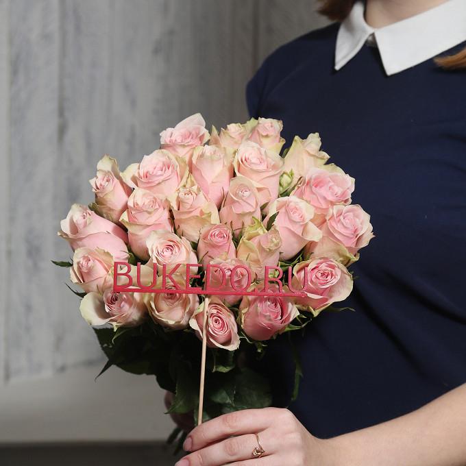 Розовая лента — 1 шт., Роза (розовый, 40 см) — 25 шт.