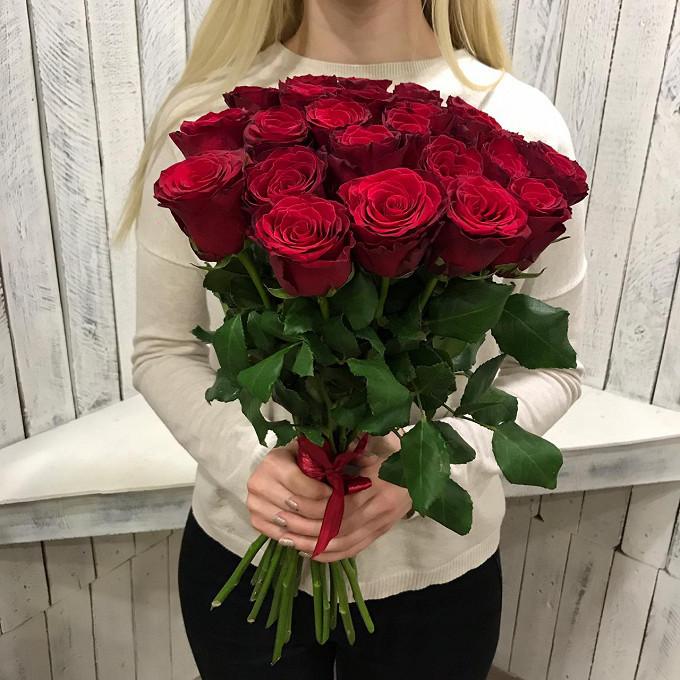 Красная лента — 1 шт., Роза (красный, 50 см) — 25 шт.