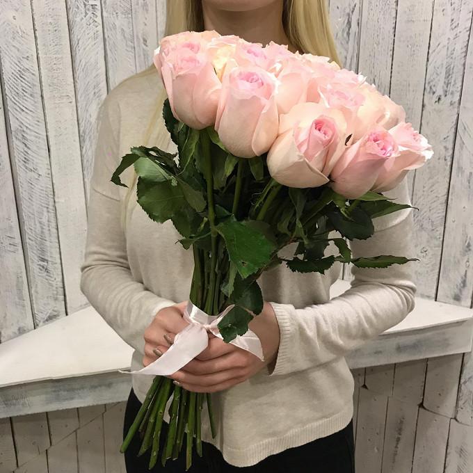 Розовая лента — 1 шт., Роза (розовый, 50 см) — 25 шт.