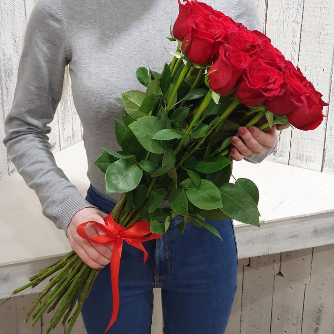 Красная лента — 1 шт., Роза Эквадор (красный, 50 см) — 25 шт.