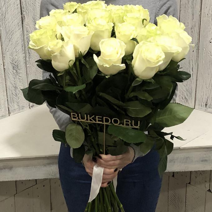 Белая лента — 1 шт., Роза Эквадор (белый, 50 см) — 25 шт.