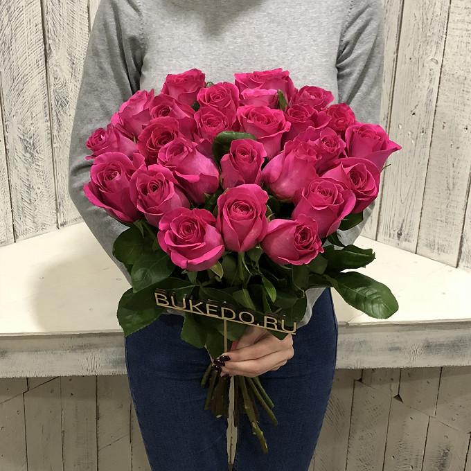 Ярко-розовые розы Эквадор, 50 см