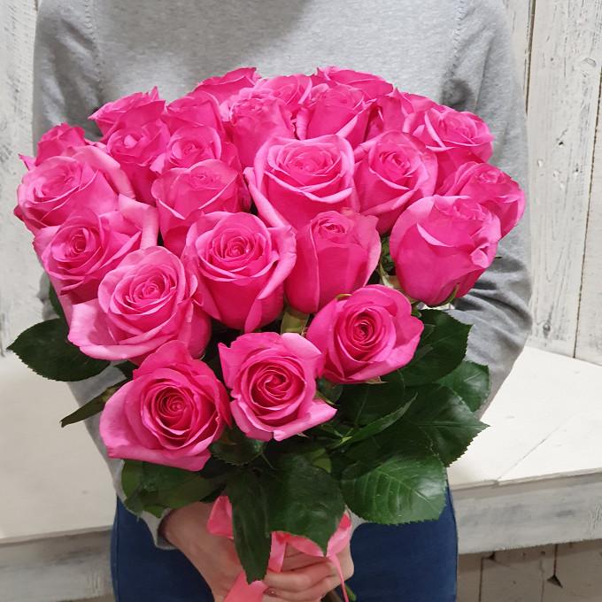 Розовая лента — 1 шт., Роза Эквадор (ярко-розовый, 40 см) — 25 шт.