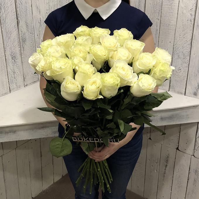 Белая лента — 1 шт., Роза Эквадор (белый, 70 см) — 25 шт.