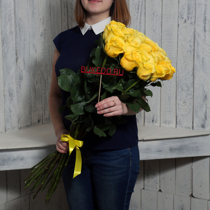 Желтые розы Эквадор, 70 см