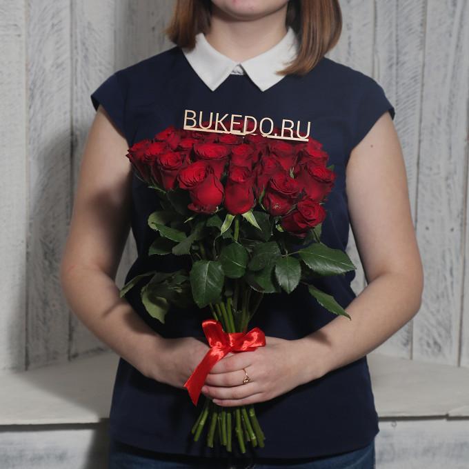 Роза Кения (красный, 40 см) — 25 шт., Красная лента — 1 шт.