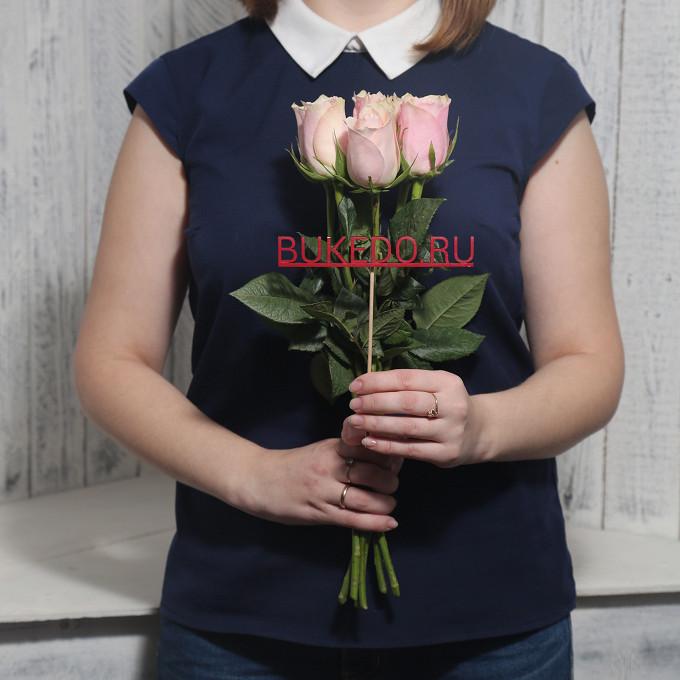 Розовая лента — 1 шт., Роза Кения (нежно-розовый, 40 см) — 7 шт.