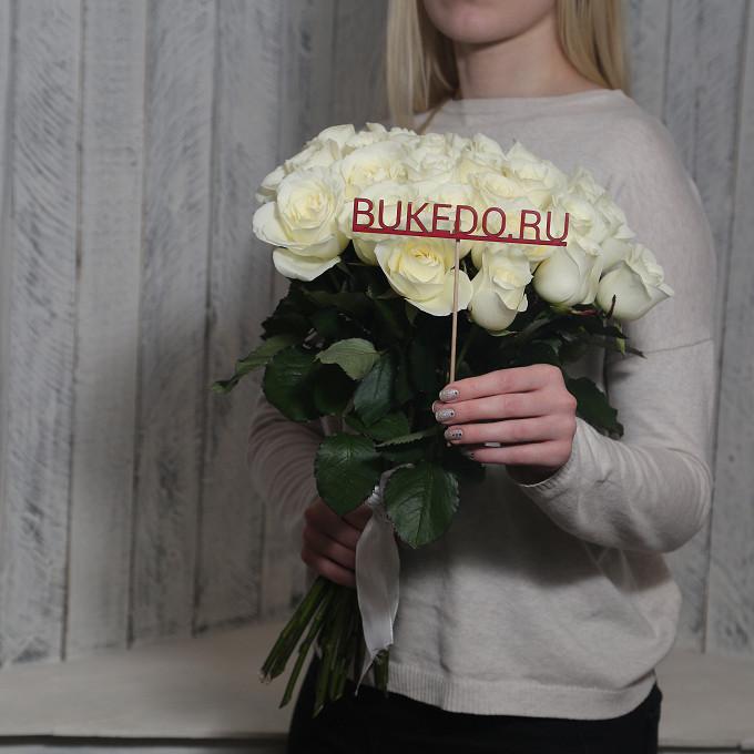 Белая лента — 1 шт., Роза Кения (белый, 50 см) — 25 шт.