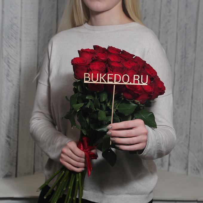 Красная лента — 1 шт., Роза Кения (красный, 50 см) — 25 шт.