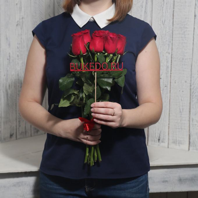 Красная лента — 1 шт., Роза Кения (красный, 40 см) — 7 шт.
