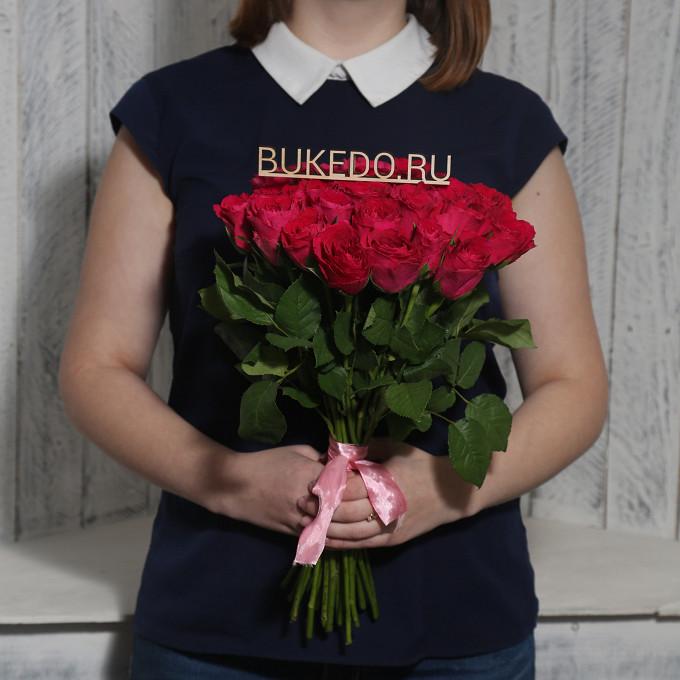 Розовая лента — 1 шт., Роза Кения (ярко-розовый, 40 см) — 25 шт.