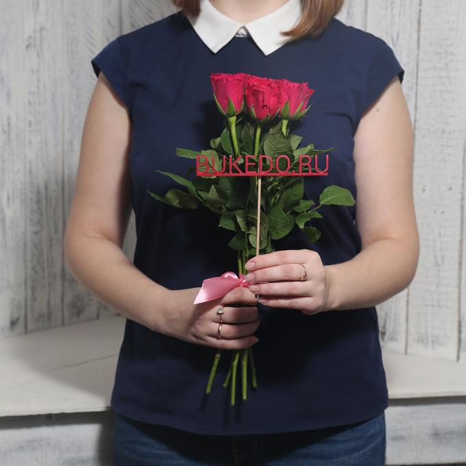 Розовая лента — 1 шт., Роза Кения (ярко-розовый, 40 см) — 7 шт.