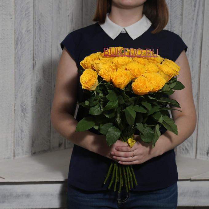 Желтая лента — 1 шт., Роза Кения (желтый, 40 см) — 25 шт.