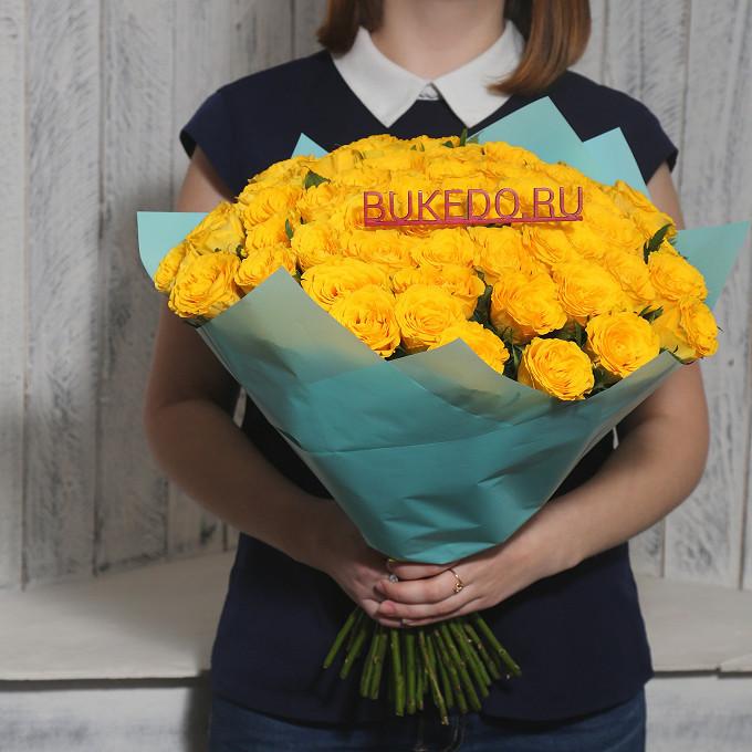 Роза Кения (желтый, 40 см) — 51 шт., Желтая лента — 1 шт., Упаковка Матовая пленка бирюзовая — 1 шт.